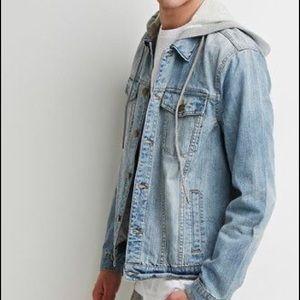 Jean jacket with sweatshirt hood!!